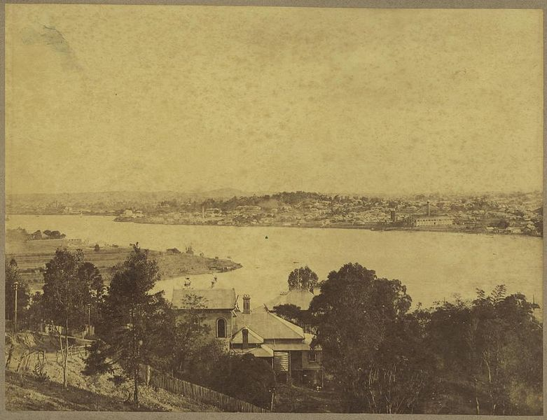 A clearer view in c.1898 from Hamilton Hill across Bulimba Reach and to Newstead. The smoke stack is about the right location give or take a few blocks.
