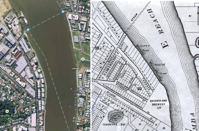 Newstead in c.2011 (left) and in 1886 (right) (left from Google Maps, right from http://homepage.powerup.com.au/~ncotter/)